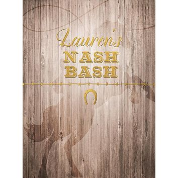 Nashville Bash Rustic Horseshoe Cowboy Birthday Theme Party Backdrop (Any Color) Background - C0248