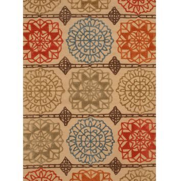 EORC Hand-tufted Wool Beige Transitional Geometric Matrix Rug
