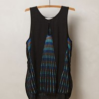 Embroidered Pavone Tank by Chloe Oliver Black Motif