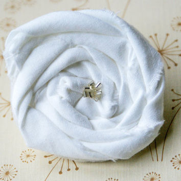 White Fabric Rosette Clip with Clear Beads/ Baby/ Child/ Adult