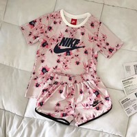 """Nike"" Women Fashion Print Short sleeve Top Shorts Sweatpants Set Two-Piece Sportswear"