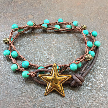 Lucky Star Crochet Bracelet Turquoise Celestial Boho Double Wrap Beaded Jewelry by Two Silver Sisters