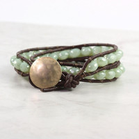 Brown Leather Wrap Bracelet Mint Green Winter Fashion Western Style Double Wrap Celadon Sage Green
