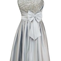 Alivila.Y Fashion Satin Strapless Sequins Cocktail Homecoming Party Dress 8122-Silver-2