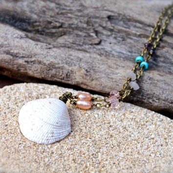 Hawaiian Seashell Necklace - Gypsy Shell Jewelry from Hawaii - Beach Boho Jewelry - Hawaii Shell Necklace - Seashell Jewelry made in Hawaii