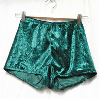 Forest green velvet hotpants