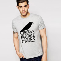 Game of Thrones T Shirts Men Cotton O Neck Crows before Hoes Man T-Shirt John Snow Nights Mens tshirt Free Shipping Male Tops
