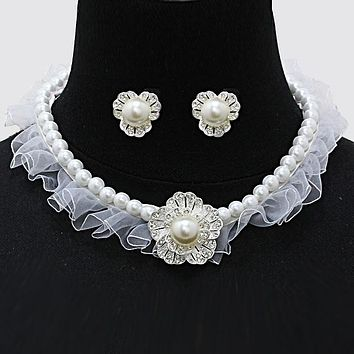 Crystal Flower Pearl Fabric Necklace & Clip Earring