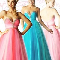 A-line Sweetheart Pink Floor-length Prom Dress With Beads 5360