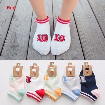 Children Stylish Mesh Breathable Low-cut Socks Anti-slip Soft Cotton Boat Socks 5 Pairs For 2-12 Years Old White/10-12T