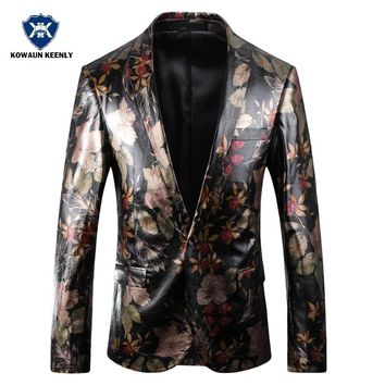 Men Leather Blazer Jacket Slim Fit Floral Blazer Stage Wear Luxury  Casual Prom Blazer Jacket Printed Stage Costumes For Singers