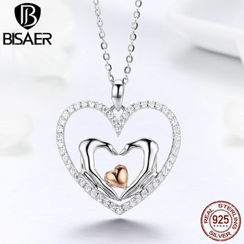 Authentic 925 Sterling Silver Luminous Heart Love Hand Mother Pendant Necklaces Women Collar Wedding Engagement Jewelry ECN248