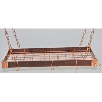 Rogar KD Rectangular Hanging Pot Racks with Grid In Hammered Copper and Copper