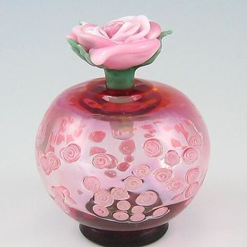 Roses Perfume Bottle by Chris Pantos: Art Glass Perfume Bottle | Artful Home