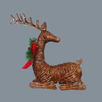 """30"""" Lighted Rattan Reindeer with Red Bow and Pine Cones Christmas Outdoor Decoration"""