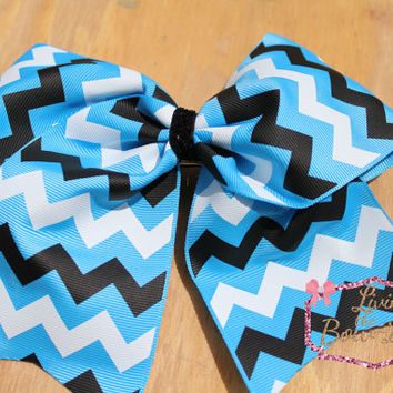 Copen Blue, White, and Black Chevron Cheer Bow