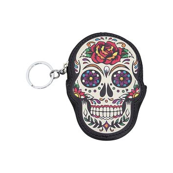 Rose Sugar Skull Dia De Muertos Coin Purse wallet