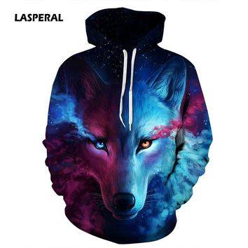 LASPERAL Hot Sale Brand Wolf Printed Hoodies Men 3D Sweatshirt Quality Plus size Pullover Novelty Streetwear Male Hooded Jackets