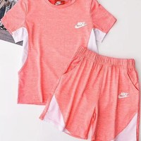 NIKE Hot Sale Contrast Show Body Sports Two Piece Suit Summer Suit B-AA-XDD Pink