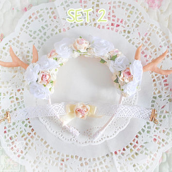 SALE Kawaii SET Flower choker Antler headband Lolita - white pink yellow roses flower crown headdress headpiece party costume