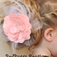 Pink Toddler Hat Pin or Girl Hair Clip Rose Tulle and by bedbuggs