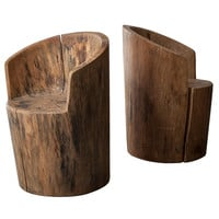 Pair of Solid Wood Chairs by Jose Zanine