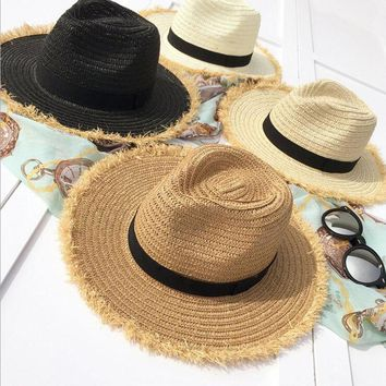 2017 New Women Natural Wide Brim Burr Raffia Straw Hats Fringe Women Plain Large Beach Summer Sun Caps Big Straw Cap chapeau