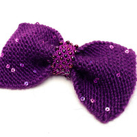 Large Hand Knit hair bow, dark purple with sequins, soft and chunky hand knit, hand beaded iridescent purple centre + charity donation