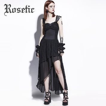 Rosetic Gothic Maxi Dress Black Women Summer Lace A-Line Goth Long Casual Dress Fashion Young Girl Party Prom Gothic Maxi Dress