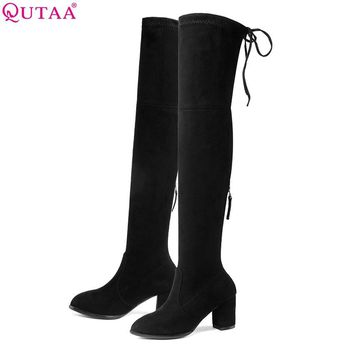 QUTAA 2018 Women Over The Knee Boots Pointed Toe Zipper Square High Heel  Black Elegant Women Motorcycle Boots Size 33-43