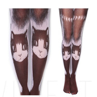 Lazy Cat Printed Opaque Sublimation Tights - 80D Women's Street Style Cosplay Stockings Pantyhose Tights