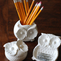handmade modern vintage owl container trio by 2chicksandafancyowl