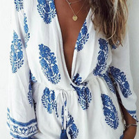 Feather Printing Plunging Romper