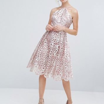 Chi Chi London Cutwork Midi Dress in Metallic at asos.com