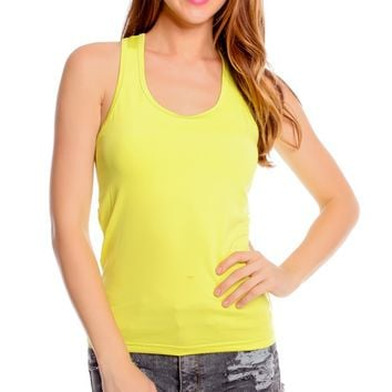 LIME PADDED CHEST SCOOP NECKLINE SLEEVELESS WORKOUT TOP