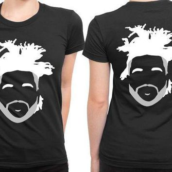 ICIK7H3 The Weeknd Stencil Hairstyle 2 Sided Womens T Shirt