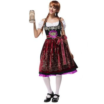 Halloween party Cosplay velvet LONG German Bavaria national Oktoberfest Beer girl Maid Peasant Dress Costume German Wench