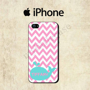 Pink Chevron Whale iPhone 4 Case - iPhone 5 Case - iPhone 4S Case - Personalized iPhone Case