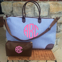Champ BLUE Seersucker Weekender Bag Monogram Font by MONOGRAMSINC