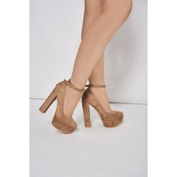 Beige Faux Suede Block Heel Platform Shoes