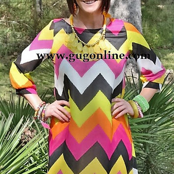 Moments Like This Pink and Orange Chevron Dress