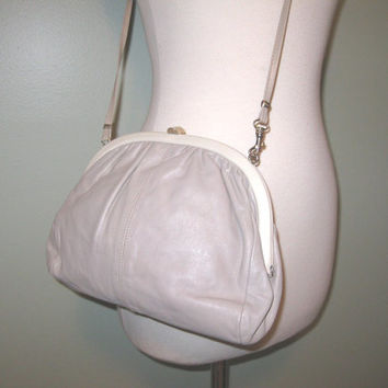 1980s Taupe Cream Italian Leather Purse / Convertible Purse / Cross body Purse / Leather Clutch / Soft Leather / FREE SHIPPING