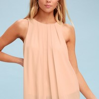 Atlantic Blush Sleeveless Pleated Top