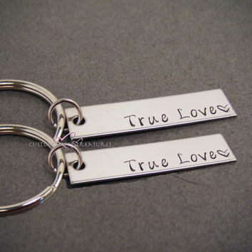 True Love Key Chain, Couples Keychains, Wedding Gift, His Hers Set, Couple Keychain Set, Rectangle Keychain, Anniversary Gift,  Gift for her