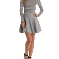 Gray Sweater Knit Skater Skirt by Rehab at Charlotte Russe