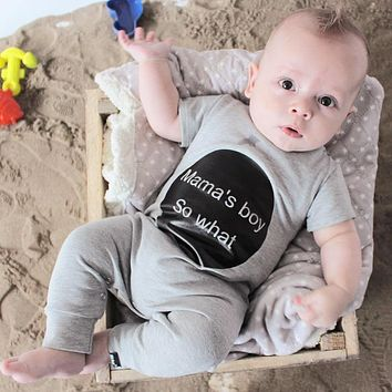 Baby Rompers Summer Style Mama's Boy Baby Boy Girl Clothing Newborn Infant Short Sleeve Clothes