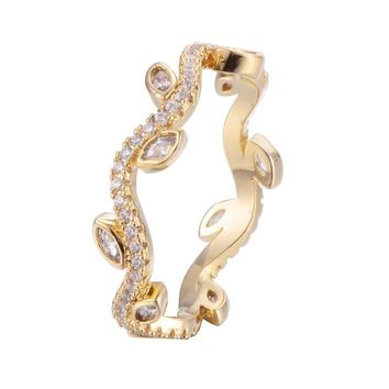 Olive Branch Leaf  Ring With copper Zirconia 18K Gold/Platinum Plated