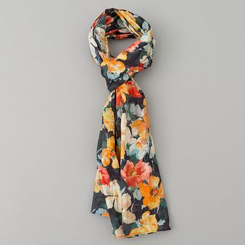 Lightweight Watercolor Floral Print Scarf, Navy