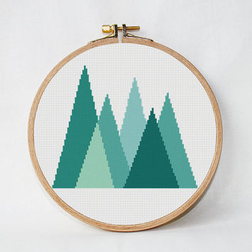 Geometric Forest Cross Stitch Pattern Geometric Mountains Geometric Scandinavian Woodland cross stitch Modern cross stitch Mid Century