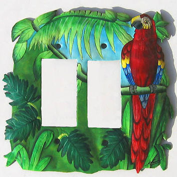Light Switchplate Cover - Double Rocker Style - Painted Metal Scarlet Macaw Parrot Tropical Design - Haitian Steel Drum Art - SR-1138 -2